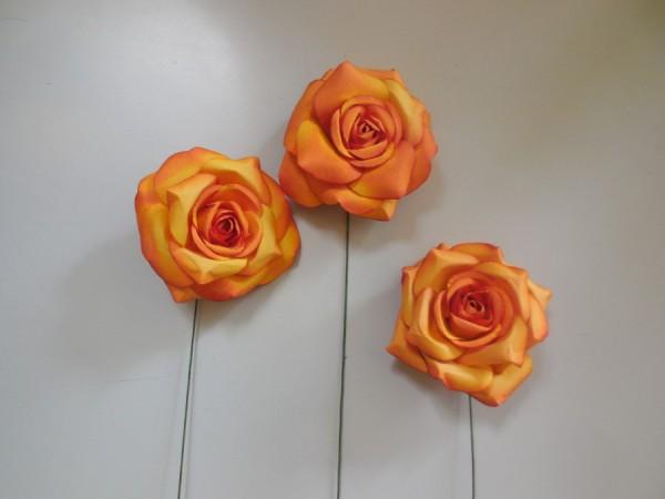 Holzpapierblume, Orange-Gelb, 7cm, Z345a