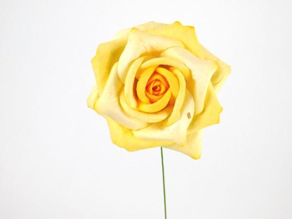 Holzpapierblume, Gelb, 7cm
