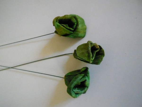 Schilfblumen, 3Stk/ 2cm, Moosgruen, Z814