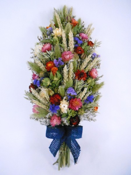 Trockenblumenzopf, Blau-Rot-Rosa