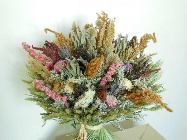 Trockenstrauß mit Weizen umrandet, 30❘40cm
