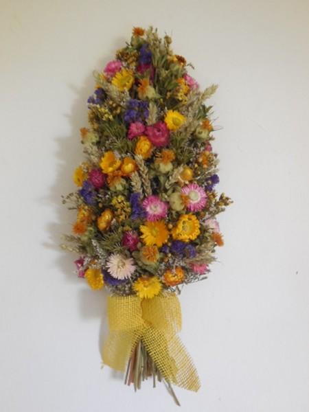 Trockenblumenzopf, Rosa-Gelb