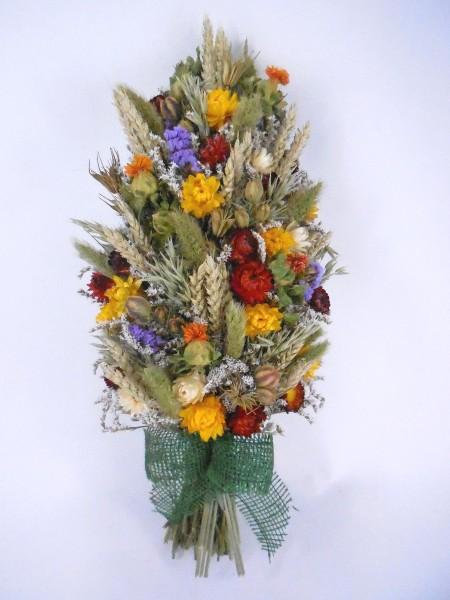 Trockenblumenzopf, Grün-Gelb-Rot