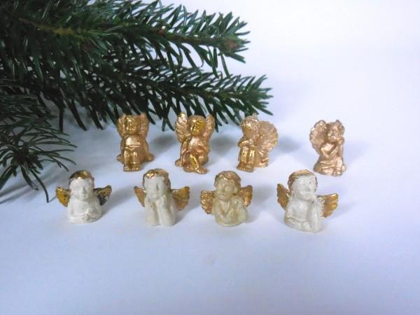 Kleine Engel, Gold+Weiß, 2cm, 8 Stück