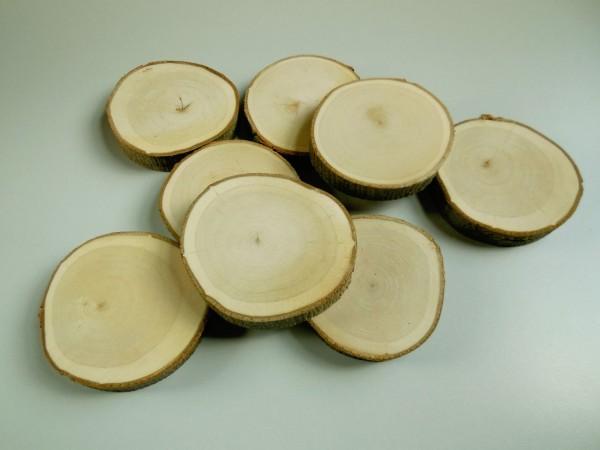 Holzscheibe/ rund, 8-9cm,geschliffen, Z416g