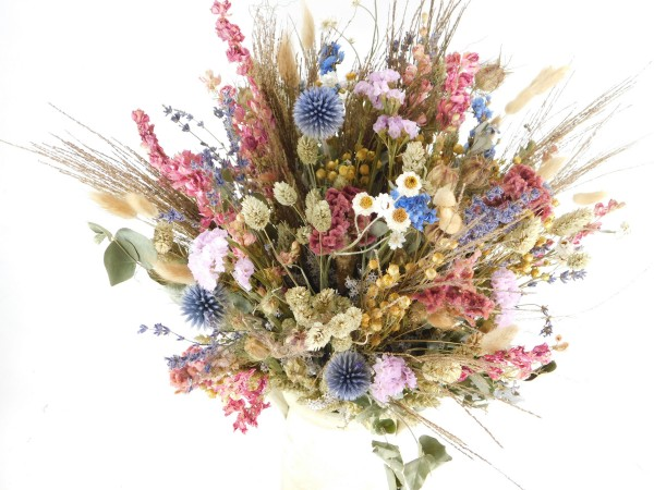 Trockenblumenstrauß, Rosa-Blau-Beige, 30 oder 40cm