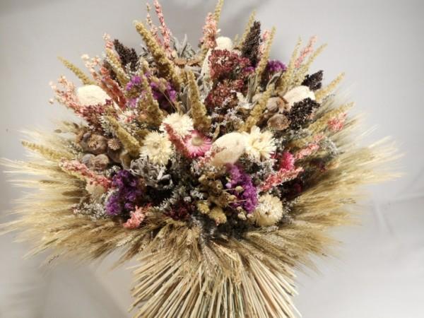Trockenstrauß mit Getreide umrandet, 50cm